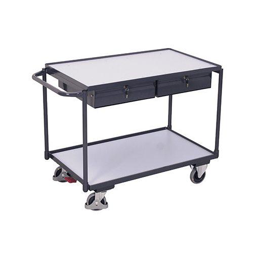 ESD asztalkocsi 2 rakfelülettel és 2 fiókkal